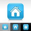 blue glossy Web Buttons mit homepage Zeichen