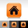 orange glänzend Web-Buttons mit homepage Zeichen