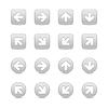Grau Web-Taste Symbole mit weißen Pfeil-Zeichen