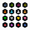 ID 3744309 | 16 sześciokątnych web buttons - użytkownik, plus, serce, usunąć | Klipart wektorowy | KLIPARTO