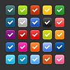 Web 2.0 Buttons mit Häkchen Zeichen
