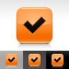 Orange glossy Web Buttons mit Häkchen Zeichen