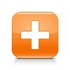 Оранжевая глянцевая веб кнопка с плюсом | Векторный клипарт