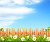 Frühling Hintergrund, Gras und Holzzaun