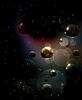 Futuristische Hintergrund mit Molekülen schwarz,