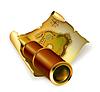Векторный клипарт: Старые карты и подзорная труба, 10eps