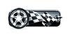 Racing Banner mit Auto-Rad