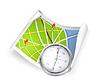 Straßenkarte und Kompass