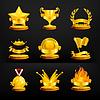 ID 3777553 | Gold-Auszeichnungen, auf schwarzem Set | Stock Vektorgrafik | CLIPARTO