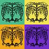 ID 3788669   Vier Varianten von Hälften eines schwarzen Apfel   Illustration mit hoher Auflösung   CLIPARTO