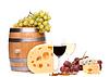 Fass, Käse, Gläser Wein und reife Trauben | Stock Foto