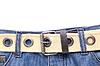 Blaue Jeans und Leder-weißen Gürtel | Stock Foto
