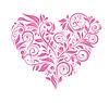 Grußkarte mit rosa Blumen Herz