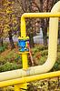 Gasleitung und Kugelhahn | Stock Foto