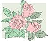 Anordnung von Rosen in Pastellfarben | Stock Vektrografik