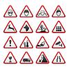 Dreieckige Warnung Hazard Signs eingestellt
