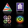 Set Symbol für Logo Design, auf schwarzem Hintergrund