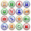 ID 3823967 | Shopping Icons. Bunte runde Tasten | Stock Vektorgrafik | CLIPARTO
