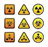 Set Warnblinkanlage Strahlung Symbole
