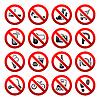 Set Icons Verbotene Symbole Ladenschilder