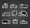 Set klebrige Aufkleber, Transport-Ikonen