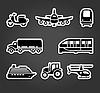 Set klebrige Aufkleber, Symbole Transport