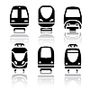 Vector clipart: Set of transport icons - Train and Tram