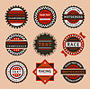 ID 3825059 | Racing labels - Vintage-Stil | Stock Vektorgrafik | CLIPARTO