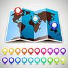 Karte Welt mit bunten Stift Zeiger Lage