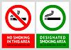 Nicht rauchen und Raucherbereich Etiketten - Set 13