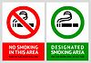 Nicht rauchen und Raucherbereich Etiketten - Set
