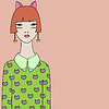 Hübsches Mädchen in Stirnband mit Katzenohren