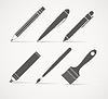 Malen und Schreiben Werkzeuge Sammlung | Stock Vektrografik