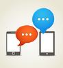 ID 3827303 | Two modern mobile phone with speech clouds | Klipart wektorowy | KLIPARTO