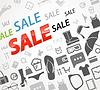 Zeit zum Einkaufen. Sale icons
