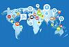 Soziales Netzwerk-Schema auf der Erde Karte in Sicht