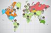 Soziales Netzwerk abstraktes Schema auf der Erde Karte