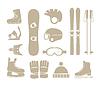 ID 3845736 | Wintersportausrüstung Silhouetten Sammlung | Stock Vektorgrafik | CLIPARTO