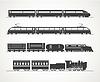 Moderne und Oldtimer-Zug Silhouette Sammlung