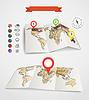 Eartgh Karten mit Wetter-Icons und Kreisdiagramme eingestellt