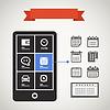 Moderne Handy mit Kalender-Icons