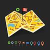 Zusammengeklappt abstrakten Stadtplan mit Sammlung von Farbe