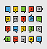 Farbe Rede Wolken mit verschiedenen Symbolen