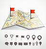 Zusammengeklappt abstrakten Stadtplan mit Route und Sammlung