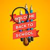Willkommen zurück in der Schule auf gelbem Hintergrund