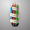 Ołówek kolorowe kredki z tekstem Powrót do szkoły | Stock Vector Graphics