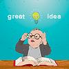 Tolle Idee, Kind mit Buch und Lampe über seinem Kopf