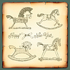 Nowy Rok z karty rocznika zabawki konie na biegunach | Stock Vector Graphics