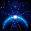 Sonnenfinsternis Hintergrund mit Sternen und Lens Flare