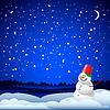 Рождество и Новый год карта с снеговика | Векторный клипарт
